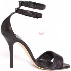 ShoeRazzi Razza double ankle-strap sandal in black leather & stingray with a metallic effect