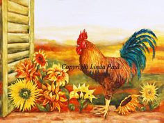 Rooster Kitchen Decor Backsplash with Sunflowers - Tile Murals of Roosters Rooster Kitchen Decor, Sunflower Kitchen Decor, Rooster Decor, Primitive Kitchen, Rooster Art, Country Kitchen Backsplash, Kitchen Stove, Backsplash Tile, Kitchen Mosaic