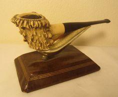 Vintage Deer Antler Horn Bone Style Estate Briar Straight Tobacco Smoking Pipe