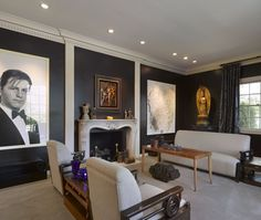 Julie London's Living Room- Architectural wall moldings help highlight works of art. Homeowner and silver screen star Julie London found the fireplace in France, and designer Paul R. Williams incorporated it into her 1958, Hollywood Regency-style residence.