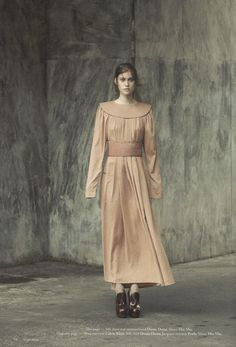 DAMIR DOMA Women's Autumn Winter 2012-13 apricot silk dress, silk belt and silk shirt featured in Forget Them Magazine (Italy).