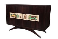 Rare Liquor Cabinet in Mahogany with Ceramic Art Tiles by Vladimir Kagan | From a unique collection of antique and modern cabinets at https://www.1stdibs.com/furniture/storage-case-pieces/cabinets/