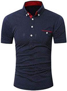 Poloshirt Kanpola T-Shirt Herren Slim Fit Polka-Punkt Polo Shirt Sweatshirt  Unterhemden Muskelshirt bfadfda671