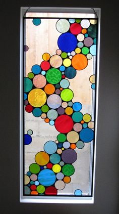 "Contemporary Stained Glass Hanging Panel - ""Wave of Color"" Size: 22 w h This custom designed glass window panel was created to hang in a large window or sidelight. We do all of our work to th Custom Stained Glass, Faux Stained Glass, Stained Glass Designs, Stained Glass Panels, Stained Glass Projects, Stained Glass Patterns, Window Art, Window Panels, Mosaic Art"