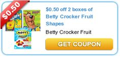 $0.50 off 2 boxes of Betty Crocker Fruit Shapes