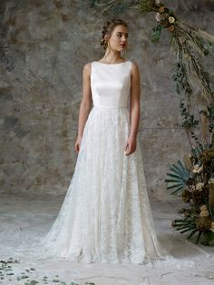 A large sparkle skirt makes this gown unique with soft duchess satin and boat neckline Bridal Gowns, Wedding Gowns, Charlotte Balbier, Sparkle Skirt, Bridal Separates, Ethereal Beauty, Satin Gown, Lace Bodice, Tulle