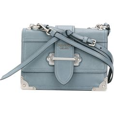 1a513291cc7 Prada Cahier shoulder bag (54.095 ARS) ❤ liked on Polyvore featuring bags,  handbags, shoulder bags, blue, genuine leather handbags, prada handbags, ...