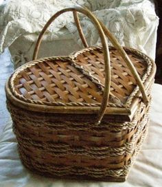 A heart shaped picnic basket.