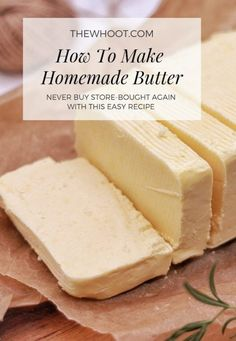 Homemade Butter Recipe Using One Ingredient Only - Essen und Trinken Easy Homemade Butter Recipe, Recipe For Homemade Butter, Homemade Food, Real Homemade, Easy Homemade Recipes, Great Recipes, Favorite Recipes, Flavored Butter, Food Stands