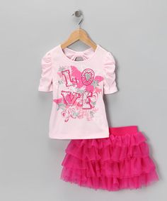Ballet Pink 'Love' Gathered Tee & Tutu Skirt from Beautees on #zulily!