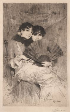 Kusinerna, The Cousins by Anders Zorn, Etching Inspirational Artwork, Black And White Illustration, Beautiful Drawings, Vintage Artwork, Gravure, Female Art, Les Oeuvres, Painting & Drawing, Printmaking