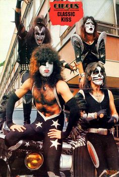 """whenkissruledtheworld: """" Circus Magazine KISS Pin-Up Poster [Photo Taken on May Fantastic shot of the guys hanging out in London. Vinnie Vincent, Eric Carr, Peter Criss, Kiss Art, Kiss Photo, Ace Frehley, Hot Band, Boogie Woogie, Gene Simmons"""