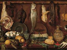 Jacopo Cimenti, detto l'Empoli (Firenze 1551-1640), Dispensa con pesce, carne, uova sode e fiasca di vino, 1625 circa, olio su tela.
