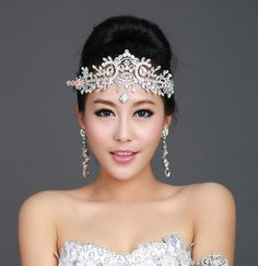 Fashion Bridal Crystal Tiara Crown Hair Accessories For Wedding Quinceanera Tiaras And Crowns Pageant Hair Jewelry WIGO0112 $32.21