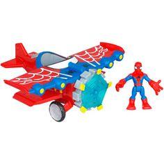 Marvel Spider-Man Adventures Playskool Heroes Stunt Wing Spider Plane with Spider-Man Vehicle