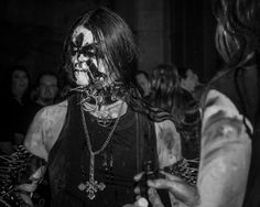 """Gorgoroth during the videoshoot of """"Carving A Giant"""""""