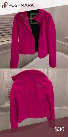 Hollister neon pink winter jacket Wore just a few times. Daughter outgrew it quick. Very cute!! Size xs. Hollister Jackets & Coats