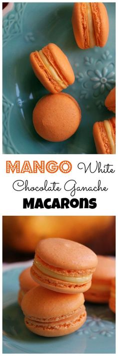 Get a taste of the tropics with these mango white chocolate ganache macarons! Their crisp almond shell gives way to a creamy, fruity decadent ganache filling. A delicious (in both appearance and taste) recipe by perfect for a spring baby shower. Baking Recipes, Cookie Recipes, Dessert Recipes, Baking Desserts, Just Desserts, Delicious Desserts, Yummy Food, Almond Shell, Macaron Cookies