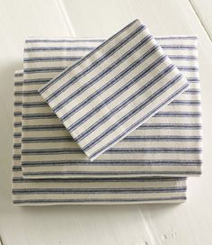blue ticking flannel sheets