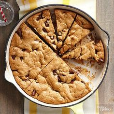 There's always room for dessert and these one-dish dessert recipes are sure to please! From a skillet chocolate chip cookie to a caramelized apple skillet tart, we have recipes that are sure to please every sweet tooth. Cookie Desserts, Just Desserts, Cookie Recipes, Delicious Desserts, Dessert Recipes, Cookie Pie, Mini Desserts, Brunch Recipes, Baking Recipes