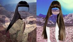 In her series 'Haircut' Erin Case is creating collages out of landscapes and silhouettes of women and their haircuts.