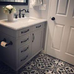 Home Remodeling Bathroom EliteTile Artea x Porcelain Field Tile in Dark Gray/White Upstairs Bathrooms, Downstairs Bathroom, Brown Bathroom, Country Bathrooms, Gold Bathroom, Grey Bathroom Cabinets, Small Bathrooms, Grey Bathroom Vanity, Gray Vanity