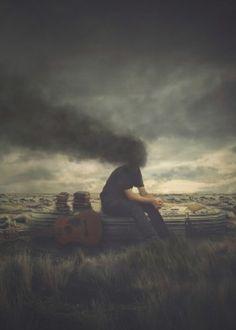 bedroom smoke smoking head black books dark strange weird sitting desert guitar person