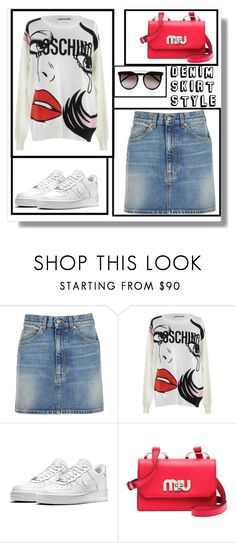 """""""Casual denim skirt"""" by krista-zou on Polyvore featuring Gucci, Moschino, NIKE and Calvin Klein"""