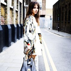 "Lucy Day, student  ""My kimono and dress are from Topshop and my shoes are from ASOS. The bag is by Jaeger."""