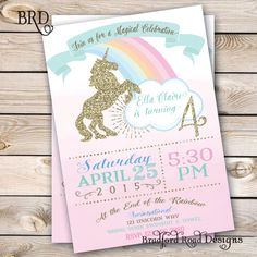 Unicorn Magical Party Invitation Unicorn Birthday Pastel Gold Customizable 5x7 Printable Rainbow Unicorn Pink Girl Birthday