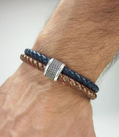 Men Leather Bracelet Navy Blue and Brown leather by ZEcollection