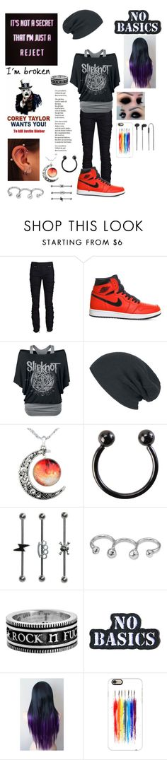 """""""Death to Pop Music"""" by skatergurl58 ❤ liked on Polyvore featuring Plein Sud, NIKE, Uno de 50, King Baby Studio, Hollywood Mirror, Casetify and Merkury Innovations"""