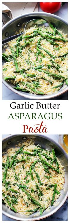 Garlic Butter Asparagus Pasta - Orzo pasta and fresh asparagus tossed in a garlic butter sauce and parmesan cheese.  It's a 20-minute, garlicky and cheesy pasta dinner! Get the recipe on diethood.com