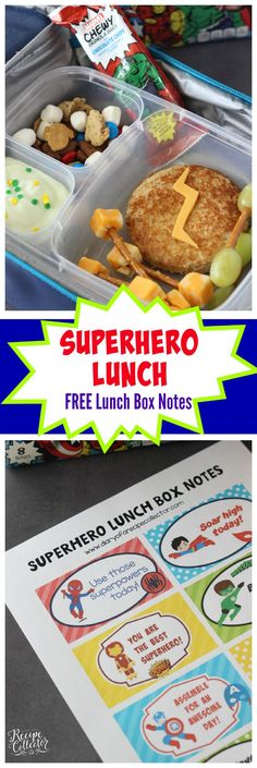 Superhero Lunch Box with Free Lunch Box Notes - A fun superhero-themed lunch box and you can print fun Superhero Lunch Box Notes. #MARVELSnackBar #ad