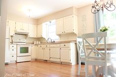 gray cabinets and white backsplash kitchen | Beadboard Backsplash, Corbel Love, & A Few Other Kitchen Updates….