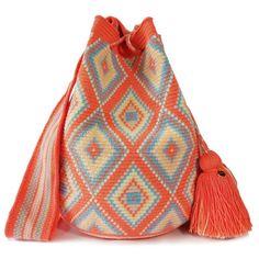 Chorrera Wayuu Mochila Bag   LOMBIA + CO. Tapestry Bag, Tapestry Crochet, Mochila Crochet, Knitted Bags, Crochet Fashion, Crochet Projects, Bucket Bag, Knitting, How To Wear