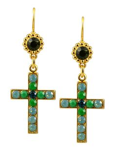 "Mariana ""Angelica"" Gold Plated Swarovski Crystal Jewel and Cross Dangle Earrings. Crystal Colors: Pacific Opaque and Green. Earring is 2.5 inch long. Lifetime unconditional guarantee!. Coordinates with other pieces in our ""Angelica"" Collection. Handmade in Israel by Mariana."