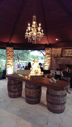like the idea of rustic and glam Gazebo Uplighting & Chandelier with Wine Barrel Bar - DPC Event Services Farmhouse Chandelier, Diy Chandelier, Iron Chandeliers, Wine Barrel Furniture, Bar Furniture, Outdoor Furniture, Furniture Stores, Luxury Furniture, Wine Barrel Bar