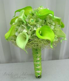 Lime green wedding bouquet real touch by BrideinBloomWeddings, $130.00