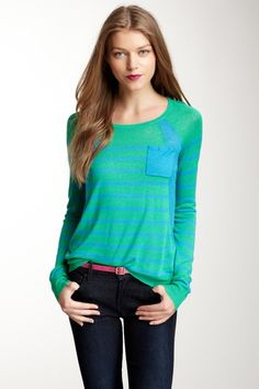 Vince Camuto Tonal Stripe Pocket Sweater