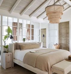 Im loving the beachy/coastal vibes of this bedroom. Do you love the rounded beams? - Architecture and Home Decor - Bedroom - Bathroom - Kitchen And Living Room Interior Design Decorating Ideas - Best Interior Design, Home Interior, Home Design, Airstream Interior, Interior Windows, Chandelier Bedroom, Bead Chandelier, Vaulted Ceiling Bedroom, Ceiling Beams