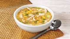 Asian Chicken and Corn soup - yummy, heary, and made from pantry staples.