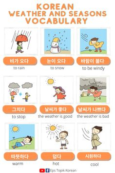 Korean Words Learning, Korean Language Learning, How To Learn Korean, Weather Vocabulary, Interesting English Words, Learn Hangul, Korean Phrases, Korean Alphabet, Korean Lessons