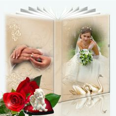 Wedding book photo montage. Click to add your own photos to this.   #wedding #photos #roses #photomontage Wedding Frames, Wedding Book, Wedding Rings, Valentines Frames, Book And Frame, January Wedding, Photo Montage, Scrapbook Journal, Paper Frames
