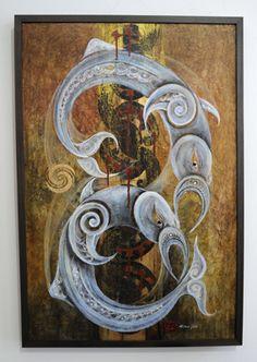 Robin Slow Kura Gallery Maori Art Design New Zealand Painting Kokowai Gold Leaf Canvas Tohora 5
