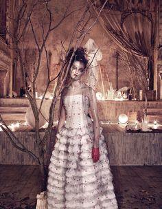 #GiorgioArmani Privé silk-chiffon and tulle dress, chenille-embroidered veil and leather gloves