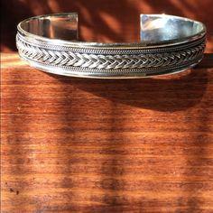 Sterling Silver Cuff Unisex Bracelet .925 One size Material :Sterling Silver .925 Size: One Size Fits Most Jewelry Bracelets