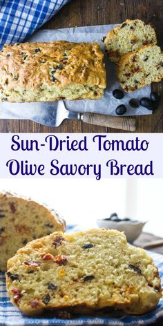 Sun-Dried Tomato Olive Bread, a delicious healthy savory no-yeast Italian loaf recipe. Fast and easy, the perfect appetizer or snack. So Tasty.|anitalianinmykitchen.com