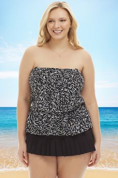 a2864fcd023c3 Maxine Hatch Printed Plus Size Tankini Top in Black White