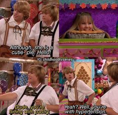 """𝑩𝒆𝒔𝒕 𝑺𝒄𝒆𝒏𝒆𝒔 ☕✨ ♡ on Instagram: """"😂😂😂😁🍭🍬🍰 @dylansprouse @debbyryan @colesprouse . . #suitelifeondeck #thesuitelifeofzackandcody #dylansprouse #colesprouse #tbt #throwback…"""" Dylan Sprouse, Suite Life, Disney Channel, Flirting, Photo And Video, Movie Posters, Instagram, Videos, Photos"""
